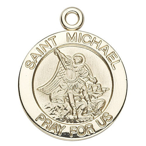 Saint Michael 14kt Gold Round Medal