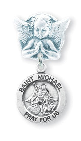 Saint Michael Sterling Silver Medal on an Angel Pin