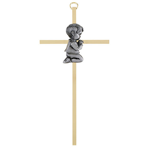 "7"" Brass Cross Boy - Discount Catholic Store"