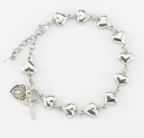 Sterling Silver Heart Bead Rosary Bracelet 8mm