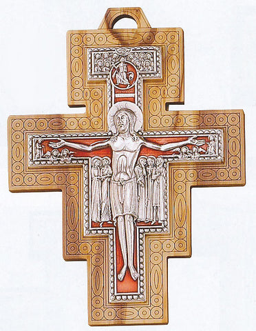 "7.5"" Olive Wood San Damiano Crucifix - Discount Catholic Store"