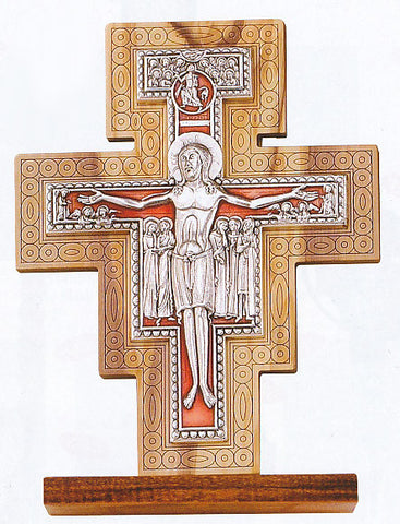 Olive Wood San Damiano Crucifix   Tabletop   Discount Catholic Store