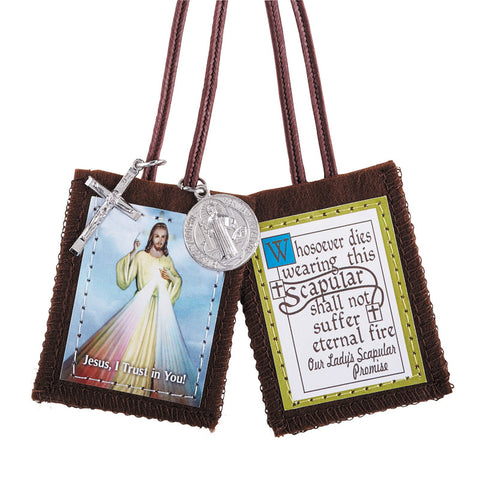 Divine Mercy Scapular with Cross and Medal