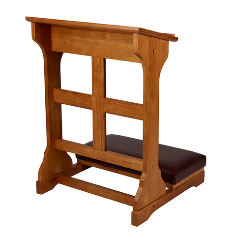 Cross Padded Kneeler Oak Finish
