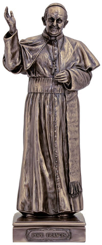 Pope Francis 11 Inch Bronze Plated Statue - Discount Catholic Store