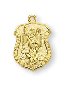 Saint Michael Gold Over Sterling Silver Badge Medal