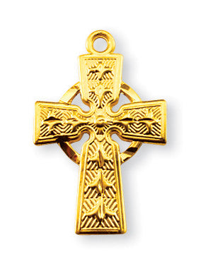 Gold Over Sterling Irish Celtic Cross Pendant