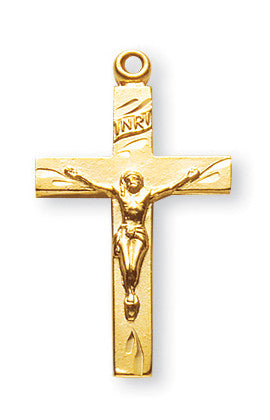 Gold Over Sterling Engraved Basic Crucifix