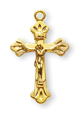 Gold Over Sterling Flared Tips Crucifix