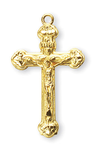 Gold Over Sterling Vine and Leaf Pattern Crucifix