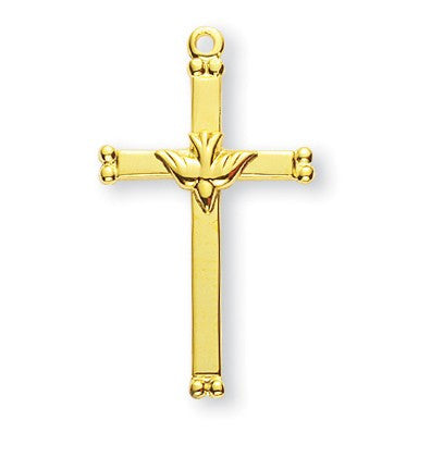 Gold Over Sterling Silver Cross with Holy Spirit
