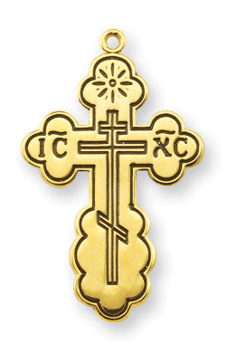 "Gold Over Sterling ""Byzantine"" Style Cross with Black Enamel"