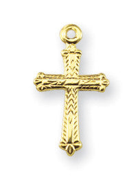Gold Over Sterling Detailed Cross