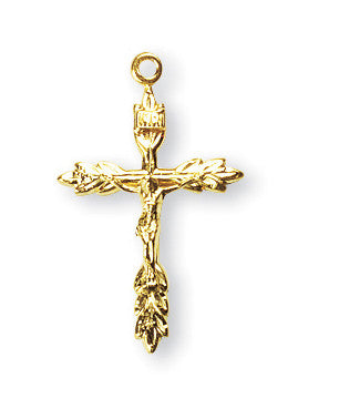 Gold Over Sterling Wheat Crucifix