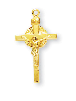Gold Over Sterling Sun Burst Crucifix