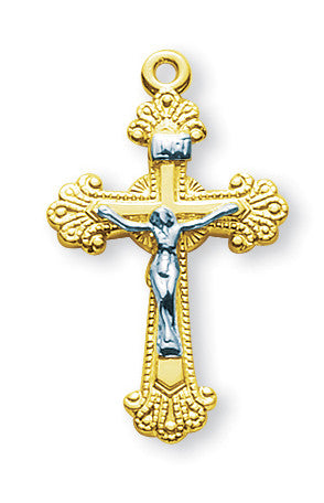 Gold Over Sterling Two Toned Fancy Engraved Crucifix