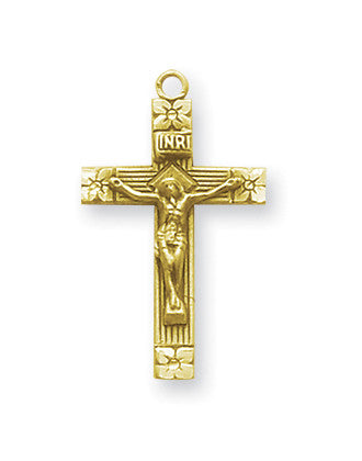 Gold Over Sterling Flower Tipped Crucifix