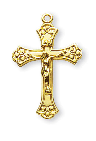 Gold Over Sterling Swirled Crucifix
