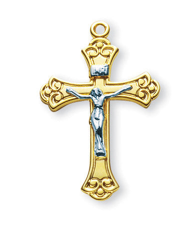 Gold Over Sterling Two Toned Swirled Crucifix