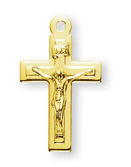 Gold Over Sterling High Polished Crucifix