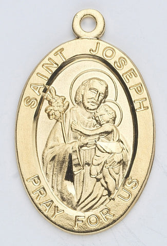 Saint Joseph Oval Gold Over Sterling Silver Medal