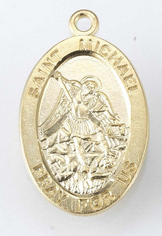 Saint Michael Oval Gold Over Sterling Silver Medal