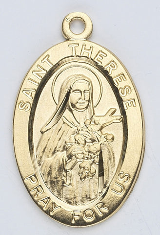 Saint Therese of Lisieux Oval Gold Over Sterling Silver Medal