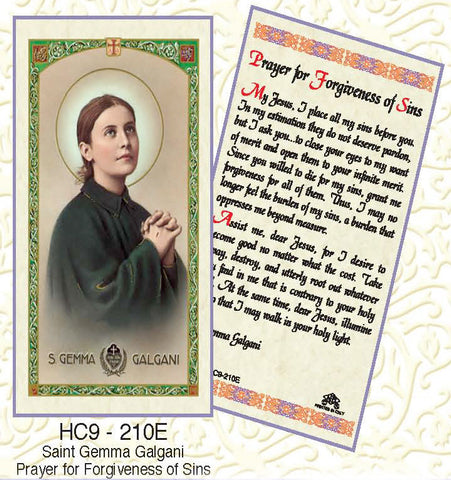 St. Gemma Galgani Prayer for Forgiveness of Sins - Discount Catholic Store