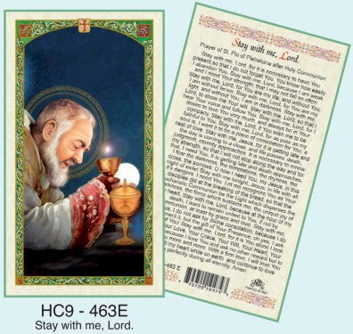 Padre Pio - Prayer After Communion (Stay with me Lord) - Discount Catholic Store