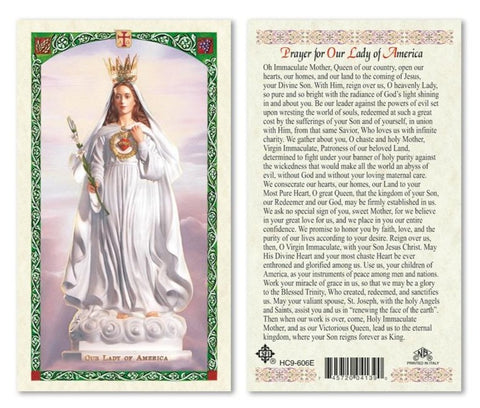Our Lady of America Prayer Cards