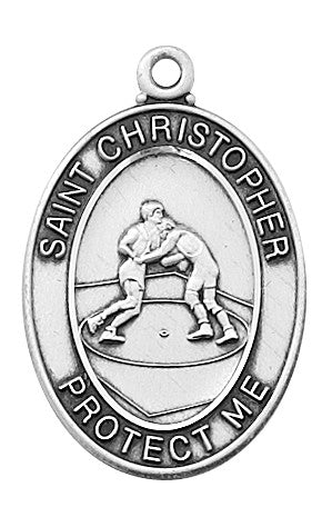 "Wrestling <br> Sterling Silver 1.2"" - Discount Catholic Store"