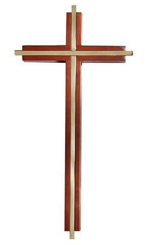 "10"" Wood Cross with Gold Plated Inlay - Discount Catholic Store"