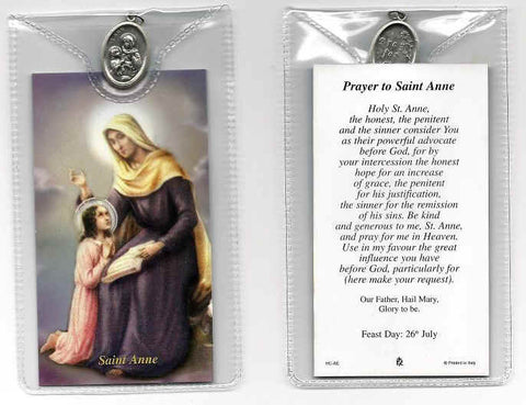 St. Anne Prayer Card and Medal