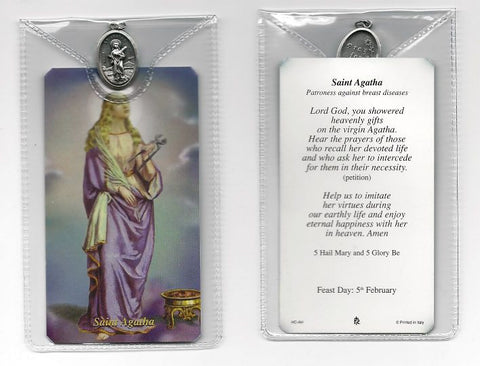 St. Agatha Prayer Card and Medal