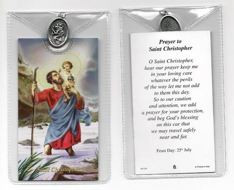 St. Christopher Prayer Card and Medal