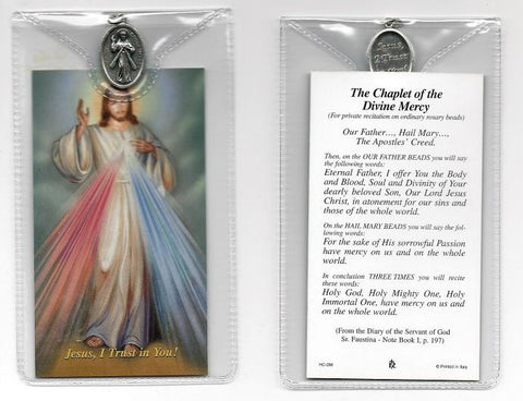 Divine Mercy Prayer Card and Medal