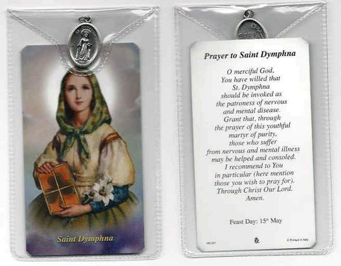 St. Dymphna Prayer Card and Medal