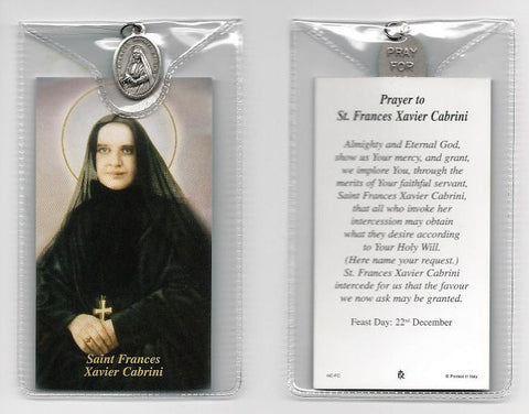 St. Frances Cabrini Prayer Card and Medal