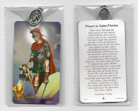 St. Florian Prayer Card and Medal