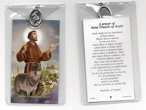 St. Francis with Wolf Prayer Card and Medal