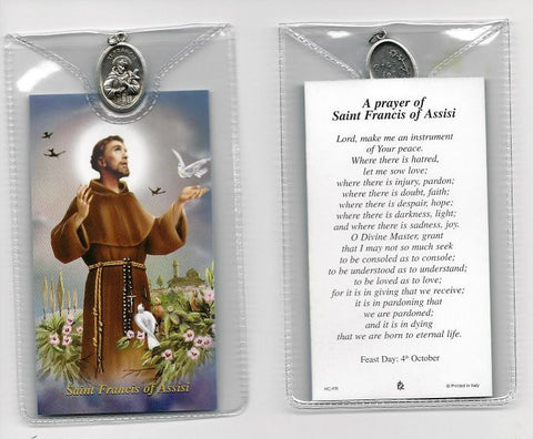 St. Francis with Birds Prayer Card and Medal