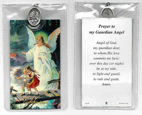 Guardian Angel Prayer Card and Medal