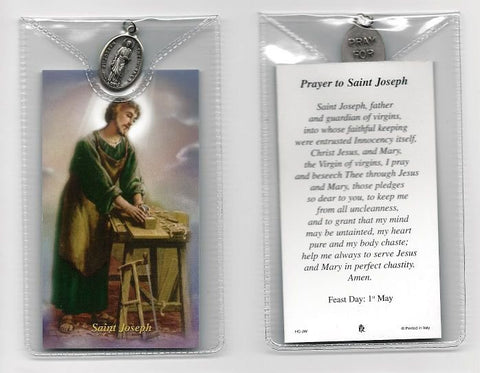 St. Joseph the Worker Prayer Card and Medal