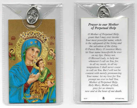 Our Lady of Perpetual Help Prayer Card and Medal