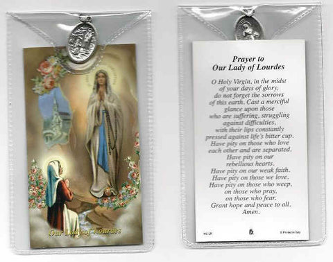 Our Lady of Lourdes Prayer Card and Medal