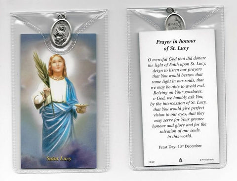 St. Lucy Prayer Card and Medal