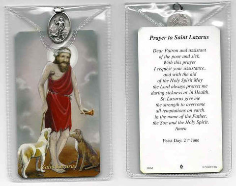 St. Lazarus Prayer Card and Medal