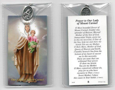 Mount Carmel  Prayer Card and Medal