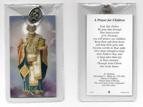 St. Nicholas Prayer Card and Medal