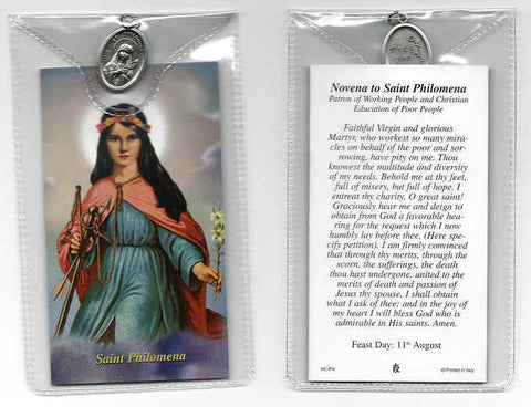 St. Philomena Prayer Card and Medal